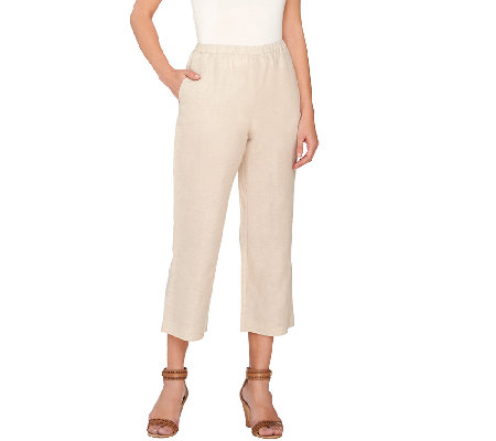 Susan Graver Linen Blend Wide Leg Crop Pants