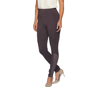 LOGO by Lori Goldstein Regular Ankle Pants with Suede Detail - A266748