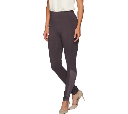 LOGO by Lori Goldstein Regular Ankle Pants with Suede Detail