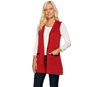 Joan Rivers Boyfriend Sweater Vest w/ Faux Leather Detail - A267548