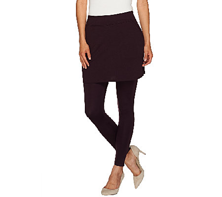 Legacy Ponte Knit Solid Ankle Length Skirted Leggings