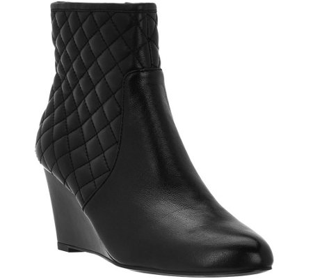 Judith Ripka Quilted Leather Wedge Ankle Boots - Everly