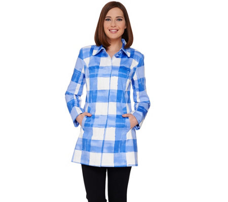 Isaac Mizrahi Live! Watercolor Gingham Printed Topper Jacket