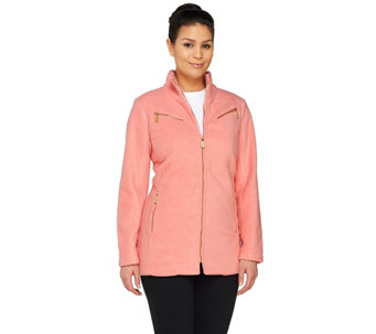 """As Is"" Bob Mackie's Fleece Jacket with Zipper Details - A277548"