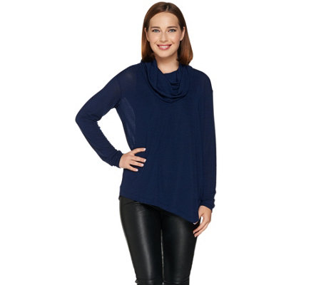 Lisa Rinna Collection Asymmetrical Long Sleeve Turtleneck Top