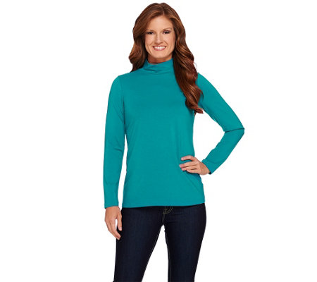 """As Is"" Susan Graver Essential Cotton Modal Mock Neck Top"