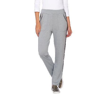 """As Is"" LOGO Lounge by Lori Goldstein PUll-On Pants w/Contrast Seam"