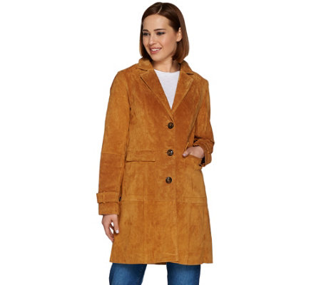 Isaac Mizrahi Live! Suede Button Front Duster Jacket