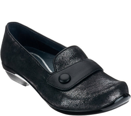 """As Is"" Dansko Leather Slip-ons w/ Strap & Button Detail - Olena"