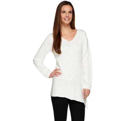 """As Is"" LOGO by Lori Goldstein Cotton Slub Sweater with Asymmetric Hem"