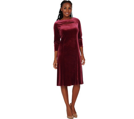 Susan Graver Stretch Velvet 3/4 Sleeve Dress with Mesh Inset