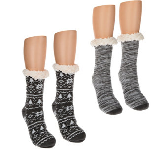 MUK LUKS 2 Pairs Jojoba Infused Cabin Socks with Faux Fur - A284548