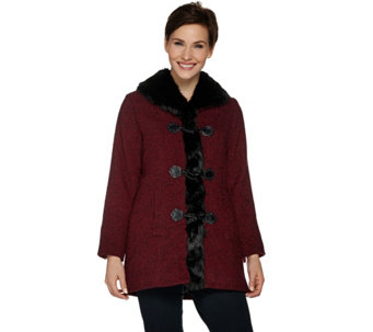 Dennis Basso Toggle Front Tweed Coat with Faux Fur Trim - A284848