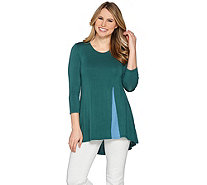 LOGO by Lori Goldstein Knit Top with Inverted Front Pleat Detail - A285348