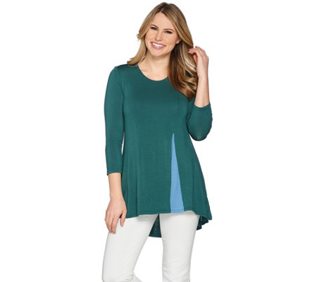 LOGO by Lori Goldstein Knit Top with Inverted Front Pleat Detail