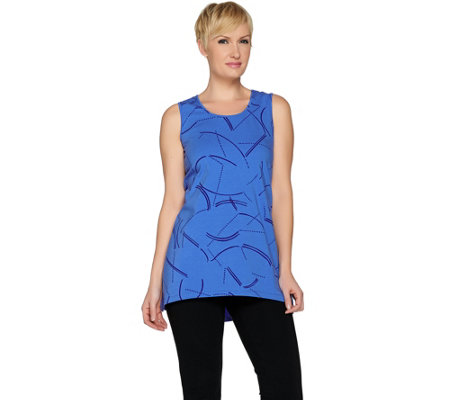 H by Halston Sleeveless Printed Tunic with Hi-Low Hem