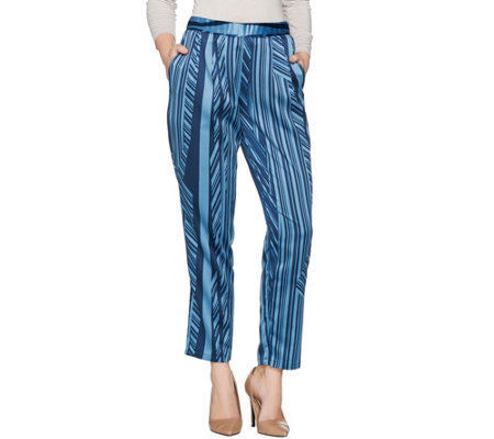 H by Halston Petite Charmeuse Linear Print Ankle Pants