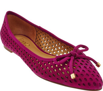 """As Is"" Franco Sarto Suede Perforated Ballet Flats - Shari - A287548"