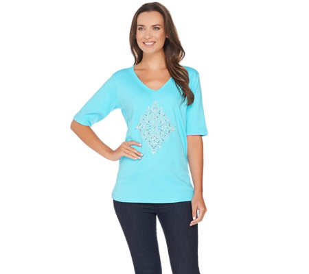 """As Is"" Quacker Factory Scroll Embellished Elbow Sleeve T-Shirt"