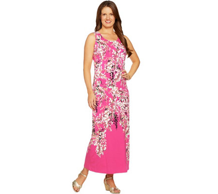 Isaac Mizrahi Live! Petite Engineered Floral Sleeveless Maxi