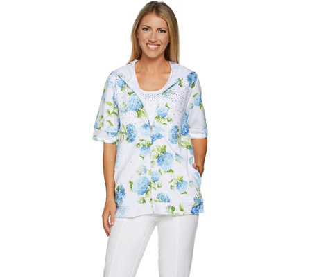 Quacker Factory Hydrangea Print Elbow Sleeve Hoodie and Knit Tank Set