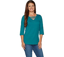 Quacker Factory Embellished 3/4 Sleeve T-shirt with Open Neck - A291848