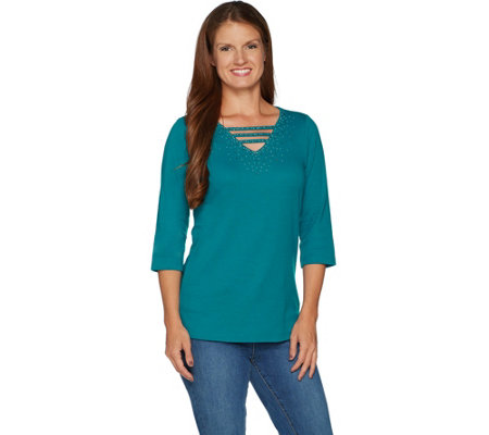 Quacker Factory Embellished 3/4 Sleeve T-shirt with Open Neck