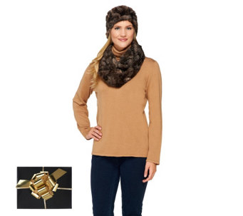 """As Is"" Joan Rivers Faux Fur Infinity Scarf & Headband Set - A292448"
