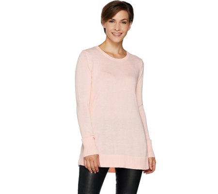 H by Halston Scoopneck Pullover Sweater with Swing Hem