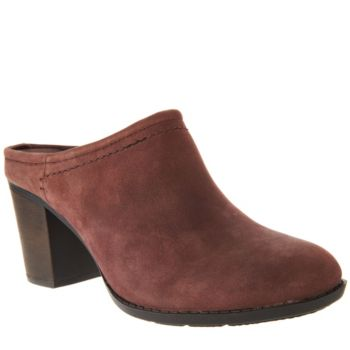 Clarks Leather Stacked Heel Mules - Enfield Sandy