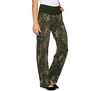 Women with Control Petite Tummy Control Pull-On Printed Pants w/ Glitz - A298548