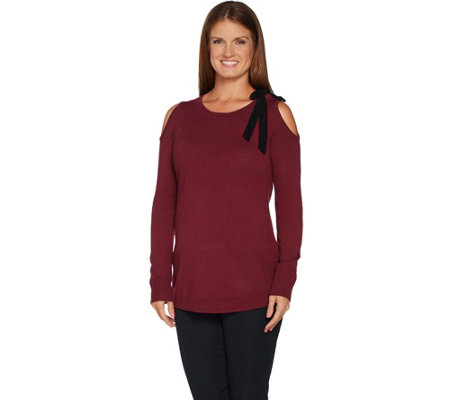 Attitudes by Renee Cold Shoulder Sweater w/ Bow Detail
