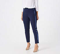 Joan Rivers Regular Joan's Signature Ankle Pants w/ Sequin Strip - A299548