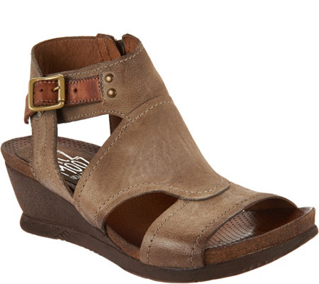 """As Is"" Miz Mooz Leather Side Zip Wedge Sandals - Scout"