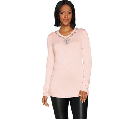 Laurie Felt Cashmere Blend Sweater with Jeweled Neck