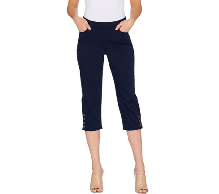 Susan Graver Stretch Twill Pull-On Pants with Button Detail