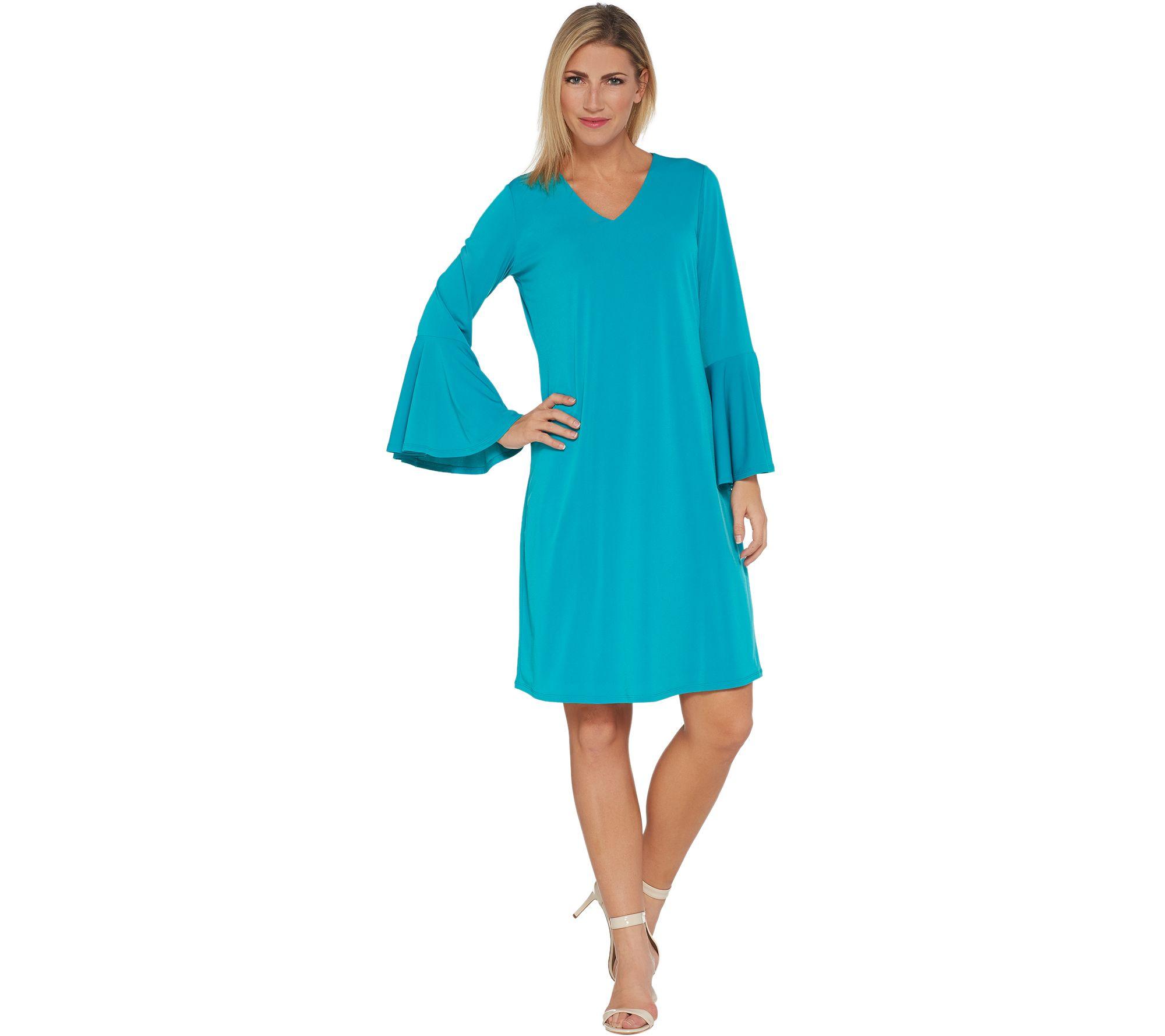 Susan Graver Liquid Knit Bell Sleeve Dress - A303348