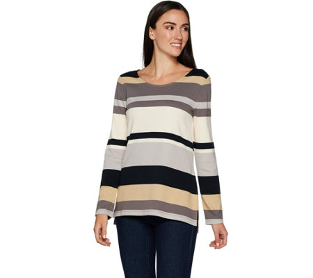 """As Is"" Isaac Mizrahi Live! Striped Color Block Long Sleeve Tunic"