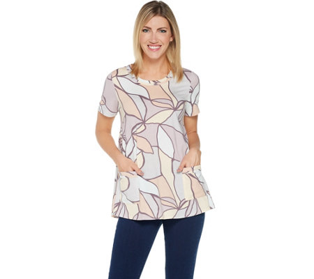LOGO by Lori Goldstein Printed Cotton Modal Top w/ Short Sleeves