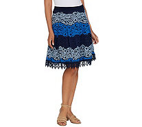 Isaac Mizrahi Live! Ombre Lace Stripe Skirt - A306548