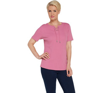 Rib Jersey Lace-up Short Sleeve Top with Curved Hem -
