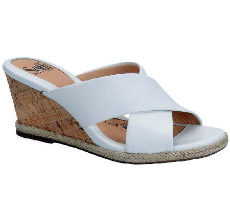 Sofft Idola Criss-Cross Leather Slide Sandals