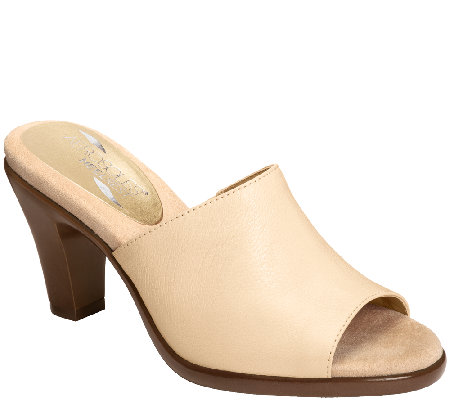 Aerosoles Heel Rest Leather Slide Sandals - Brilliance