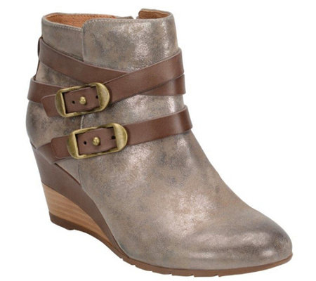 Sofft Leather or Suede Wedge Ankle Boot - Oakes