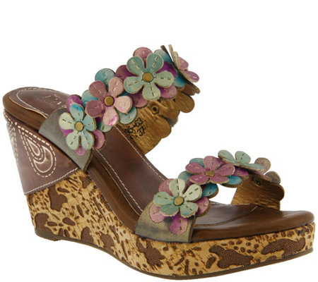 L'Artiste By Spring Step Leather Wedge Sandals- Aura