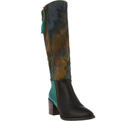 Spring Step L'Artiste Leather and Canvas Tall Boots -  Libre
