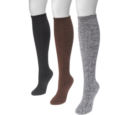 MUK LUKS Women's Three-Pair Pack Crosshatch Knee High Socks