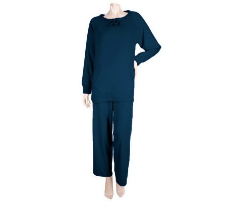 Stan Herman Microfleece Lounge Set with Ribbed Trim Tunic Top