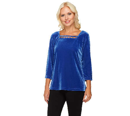 Quacker Factory Rhinestone Embellished Stretch Velvet Top