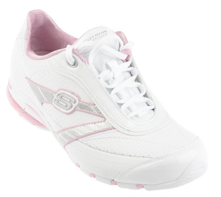 skechers leather lace up logo shoes page 1 qvc com